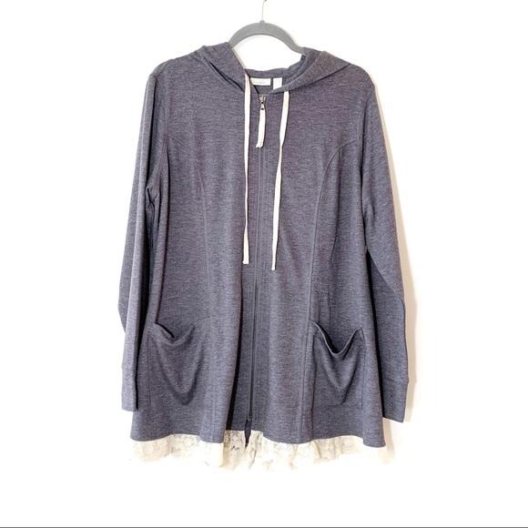 LOGO Lori Goldstein Gray Sweatshirt Tunic Lace 1X